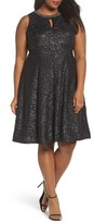 London Times Plus Size Women's Beaded Neck Fit & Flare Dress