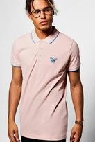 boohoo Chest Embroidered & Tipping Detail Polo
