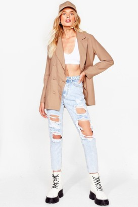 Nasty Gal Womens High-Waisted Distressed Jeans - Acid Wash Light Blue