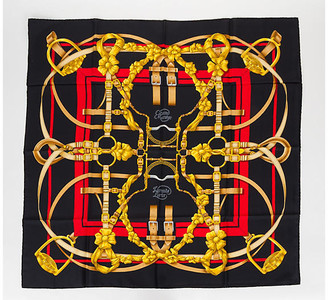 One Kings Lane Vintage Hermes Grand Manege Black Silk Scarf - Vintage Lux
