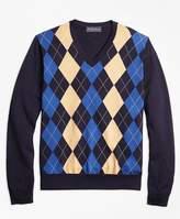 Brooks Brothers Supima® Cotton Cashmere Argyle V-Neck Sweater