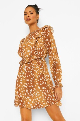 boohoo Smudge Print Ruffle Detail Smock Dress