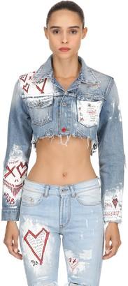 Cropped Pax Iii Hand-Paint Denim Jacket