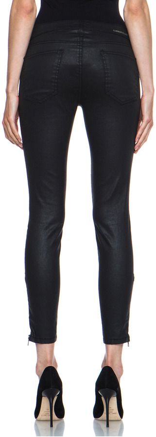 Current/Elliott Soho Coated Zip Stiletto in Black