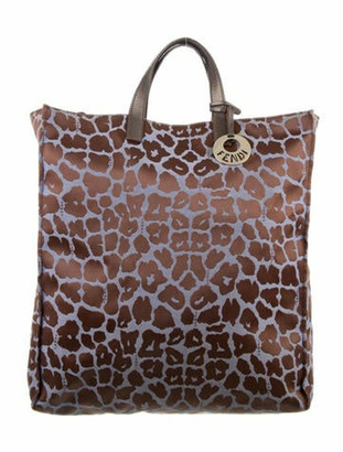 Fendi Leopard Print Tote Brown