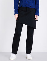 Miharayasuhiro Asymmetric skirt-panel straight high-rise jeans