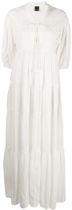 Pinko Embroidered Tiered Maxi Dress