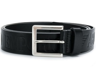 Emporio Armani Logo Embossed Buckle Belt