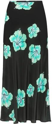 Rixo Kelly floral midi slip skirt