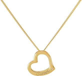 Moon & Back Revere Gold Plated Sister Heart Pendant 18 Inch Necklace