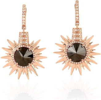 Artisan Starburst Black & White Diamond Earring In 18K Rose Gold
