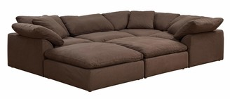 Sunset Trading Cloud Puff Sectional 6 Piece Slipcovered Modular Sofa | Couch with Removable Washable Performance Fabric Slipcovers Configurable Pitt Lounge Bed