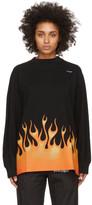 Palm Angels Black Burning Logo Over Long Sleeve T-Shirt