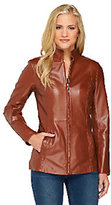 Dennis Basso Lamb Leather Zip Front Jacket with Stand Collar