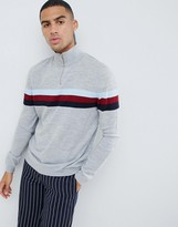 Asos Design DESIGN half zip color block sweater in gray