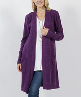 Lydiane Women's Open Cardigans PURPLE - Purple Marled Hacci Knit Pocket Open Cardigan - Women