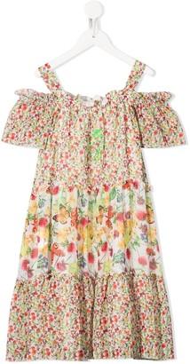 Miss Blumarine Ruffled Butterfly-Print Dress