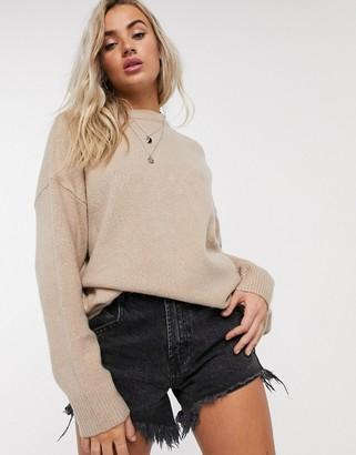 Bershka oversized jumper in camel