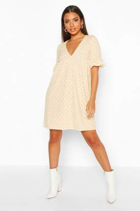 boohoo Polka Dot Ruffle Sleeve Smock Dress