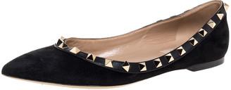Valentino Black Suede Leather Rockstud Ballet Flats Size 36