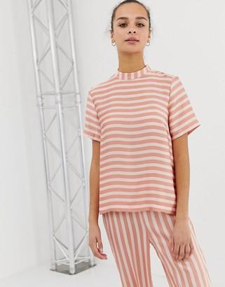 Pieces Tika stripe high neck top-Pink