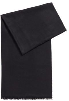 HUGO BOSS Fringed-edge pashmina in a virgin wool and silk blend