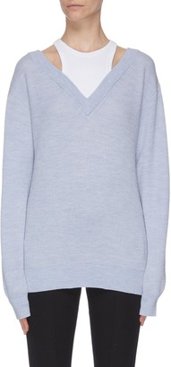 Alexander Wang Contrast panel top V neck sweater