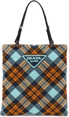 Prada Logo-Plaque Plaid Velvet Tote Bag