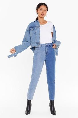 Nasty Gal Womens It Takes Two Tone Denim Mom Jeans - blue - S