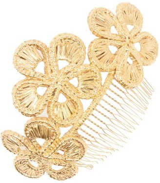 Magnetic Midnight - Irachnae Floral Gold-dipped Hair Comb - Gold
