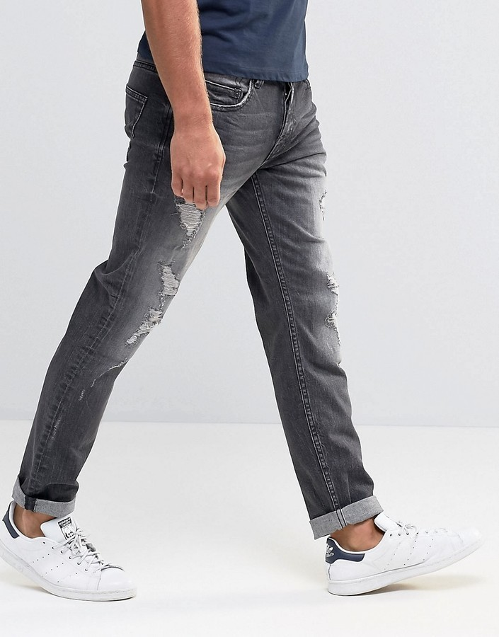 ONLY & SONS Jeans in Regular Fit with Rip Repair Detail