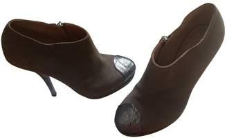 Dries Van Noten Green Suede Ankle boots