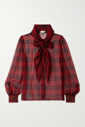 Saint Laurent Pussy-bow Checked Silk-chiffon Blouse - Red