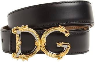 Dolce & Gabbana 25mm Baroque Buckle Leather Belt
