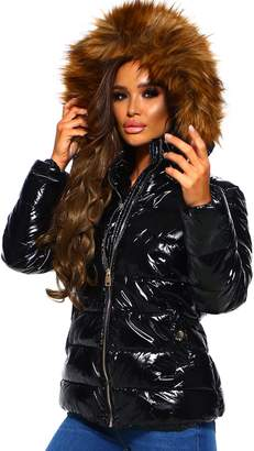 Pink Boutique Are You Furreal Black Shiny Puffer Jacket