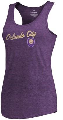 Women's Fanatics Branded Heathered Purple Orlando City SC Rising Script Tri-Blend Tank Top