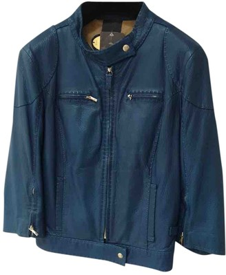 Fendi Blue Leather Leather Jacket for Women Vintage
