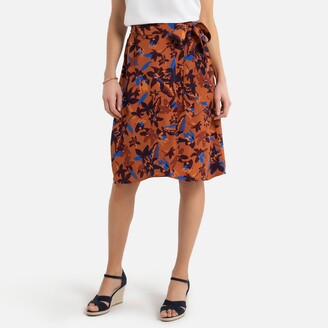 Anne Weyburn Mid-Length Wrapover Skirt in Floral Print