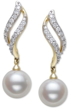 Belle de Mer Cultured Freshwater Pearl (8mm) & Diamond (1/3 ct. t.w.) Drop Earrings in 14k Gold