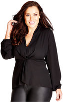 City Chic Plus Size V-Neck Knotted Blouse