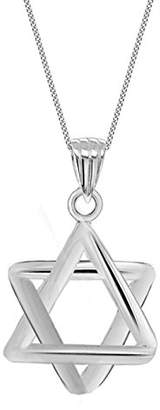 """Tuscany Silver Sterling Silver Medium Star Pendant on Curb Chain of 46cm/18"""""""