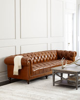 "Horchow Massoud Davidson 119"" Tufted Seat Chesterfield Sofa"