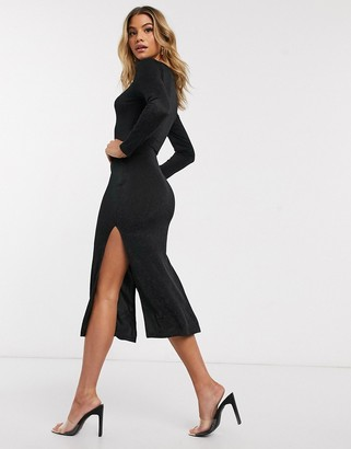 I SAW IT FIRST glitter long sleeve midi dress in black