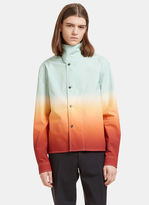J.w. Anderson Men's Ombré Shirt Jacket In Green And Orange