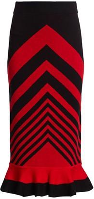Chevron Striped Knit Midi Skirt