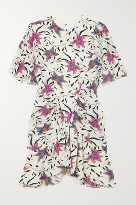Etoile Isabel Marant Osias Ruched Floral-print Crepe De Chine Mini Dress