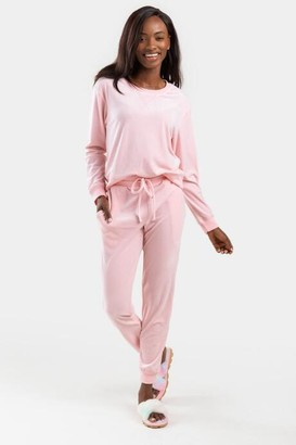 francesca's Cheri Velvet Lounge Pants - Blush