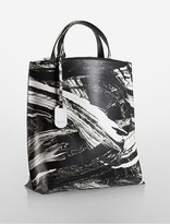 Calvin Klein Platinum Edged Brushstroke North/South Leather Tote