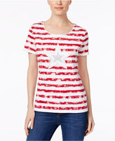 Karen Scott Petite Cotton Striped Embellished Top, Only at Macy's