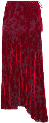 Ann Demeulemeester Asymmetric Devore-chiffon Maxi Skirt
